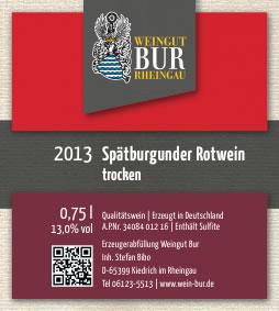 2013 Spätburgunder Rotwein Weingut Bur