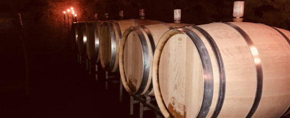 Weinfässer in denen der Wein des Weingut Bur heranreift