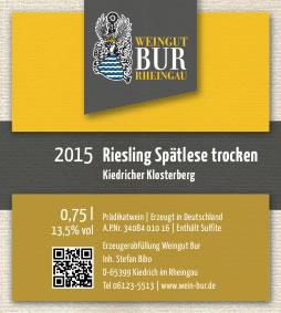 2015 Riesling Spätlese trocken, Kiedricher Klosterberg - Weingut Bur