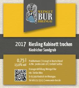 2017 Riesling Kabinett trocken, Kiedricher Sandgrub - Weingut Bur
